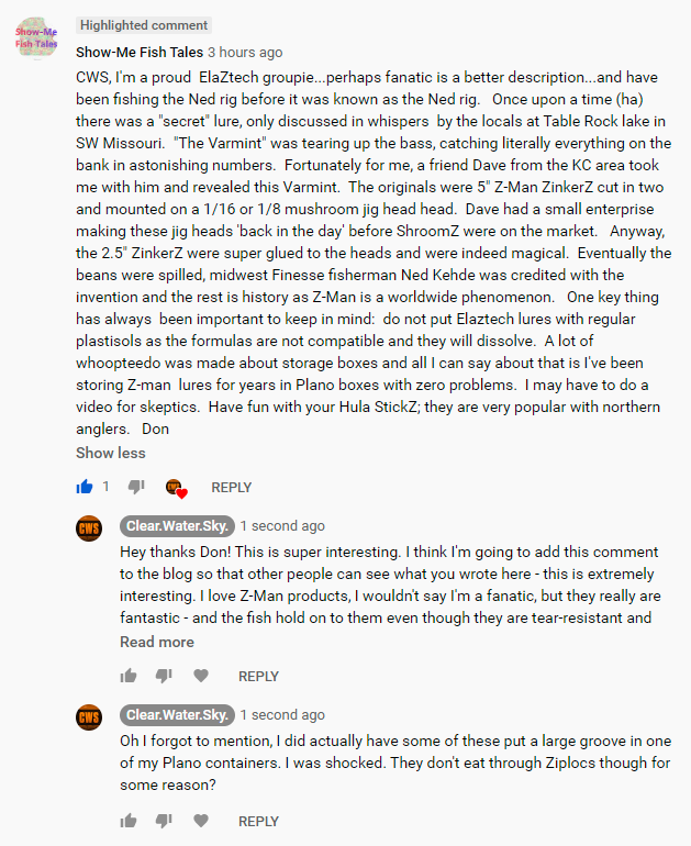 YouTube Hula StickZ Comment from Don @ Show-Me Fish Tales
