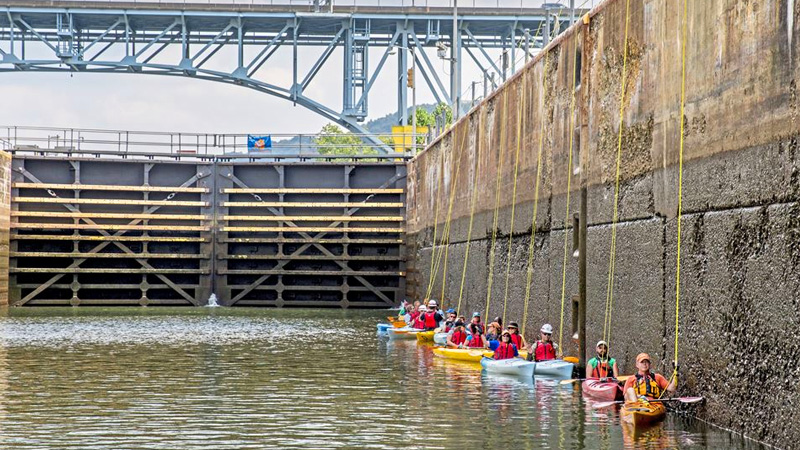 """Boaters waiting to """"Lock-Through"""""""