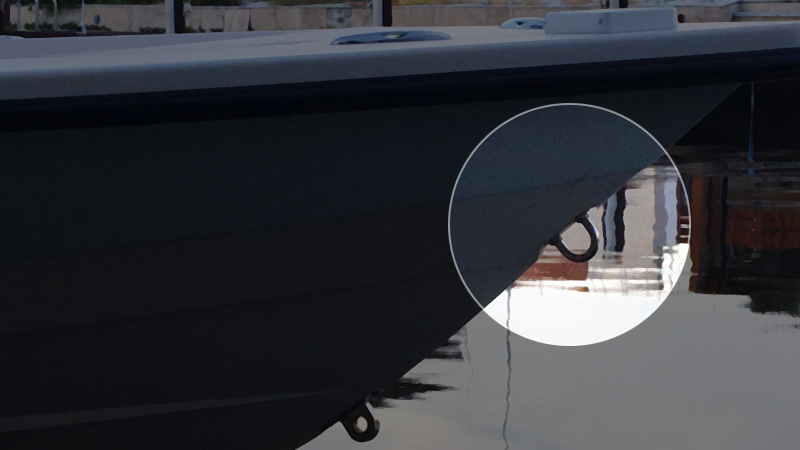 Bow eye in front of a boat