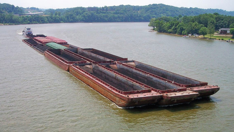 Large Barge in the River