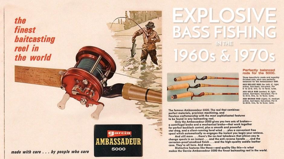 Abu Garcia Ambassadeur 5000 Vintage 1960s Advertisement Explosive Bass Fishing
