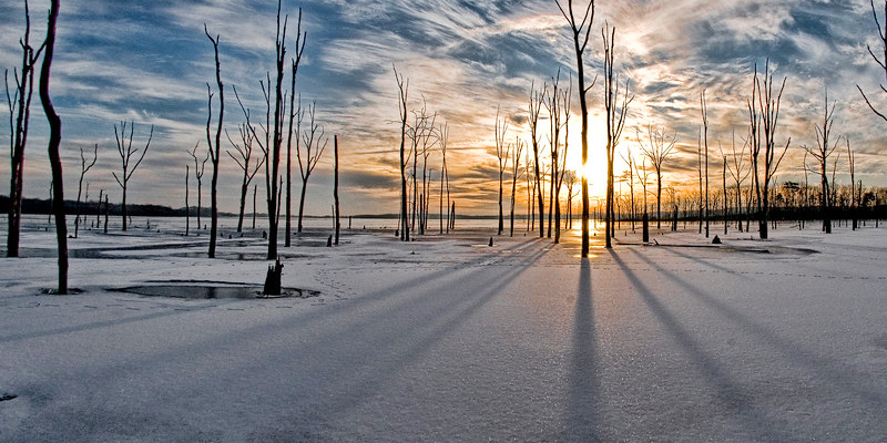 Frozen Reservoir Melting Away