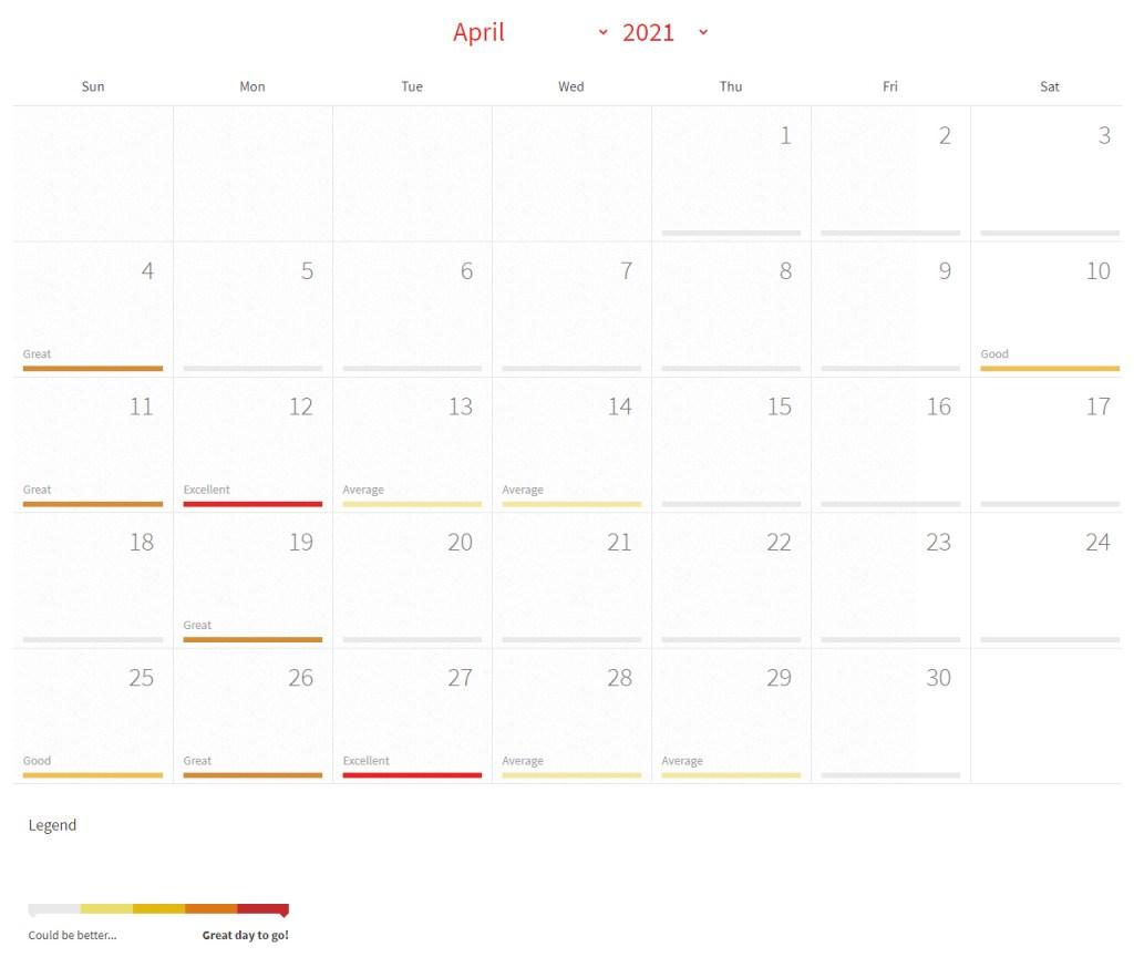 Solunar Calendar for April 2021 Illinois