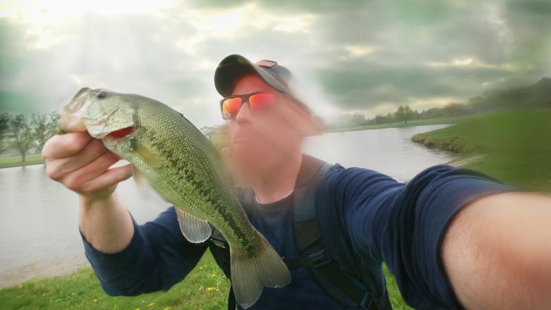 largemouth bass on strike king ocho in the rain illinois