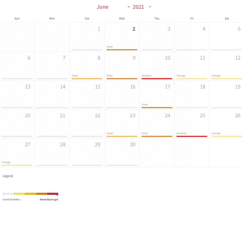 Solunar Calendar for June 2021 Illinois Bass Fishing