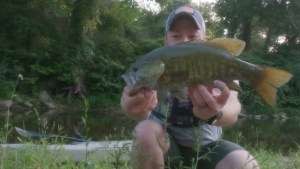 Creek Fishing in Illinois: Huge Smallmouth Bass at Dusk